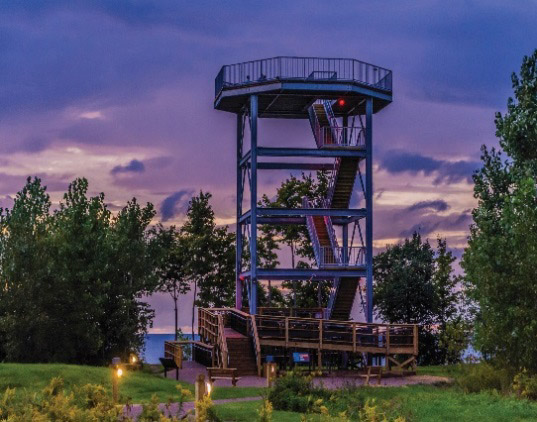 Lake Erie Bluffs tower at dusk